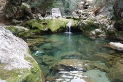 Small formed pool along flowing river with a small waterfall , clean and pure fresh water in Akchour valley, Chefchaouen, Morocco
