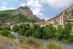 Small French medieval town between two rocky hills and the Var river, Commune of Entrevaux, Provence-Alpes-Côte d'Azur region, Alpes de Haute Provence, France