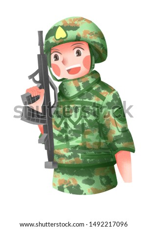 Small fresh style cute August 1st Army Day Army illustration character elements