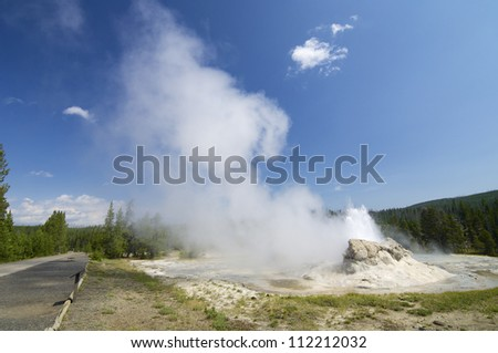 small geyser in Yellowstone National Park, United States