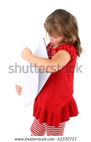 Small girl going through sheets of paper isolated on white