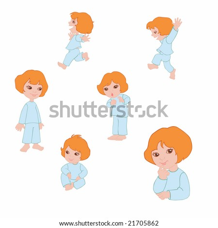 Small girl icons in blue pyjamas