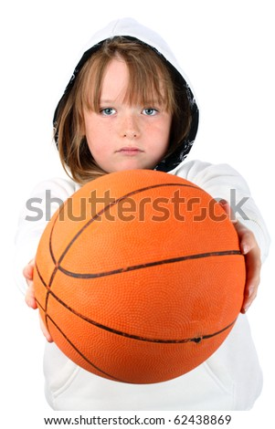Small girl in hooded sweatshirt hands you the ball challenging you to play isolated on white - stock photo