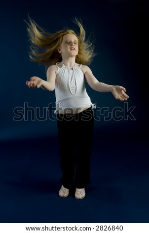 Small girl is jumping