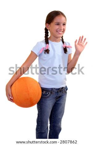 Small Girl ready to play basketball - stock photo