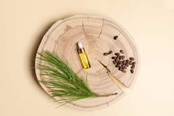Small glass bottle with coniferous spa aromatic essential cedar oil, branch, nuts on wooden saw cut on beige backdrop.
