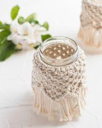 Small glass vase, jar, candleholder with macrame cover. Boho style. Bohemian home decor. Wedding accessory.