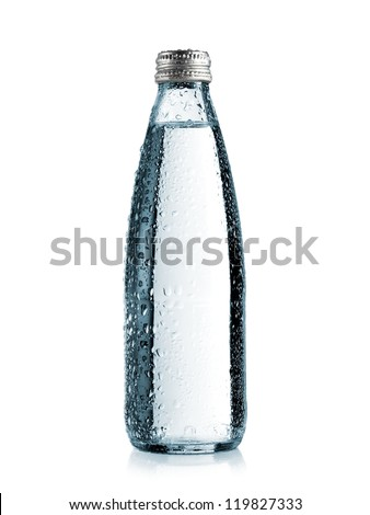 Small glass water bottle with drops