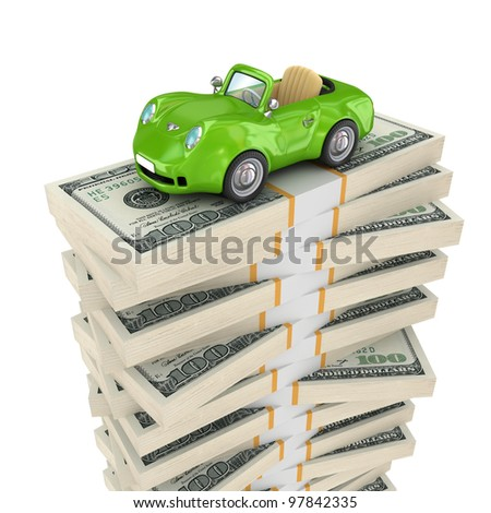Small green car on a big pack of dollars.Isolated on white background.3d rendered.