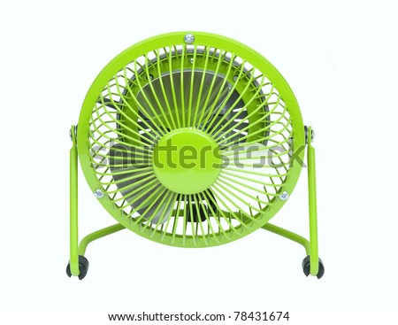 small green fan to help keep you cool in the hot summer time on a white background