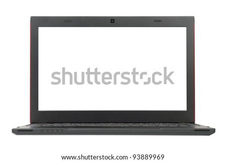 Small grey laptop with red top isolated with clipping paths over white background. Focused on screen.