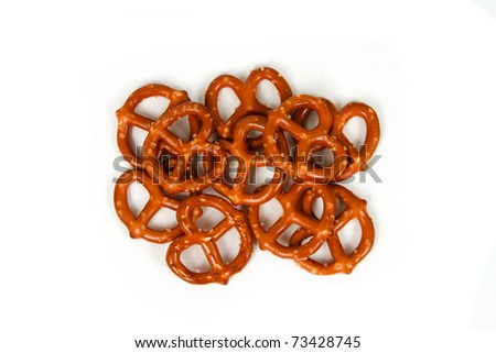 Small Group of Pretzels Isolated on White Background - stock photo