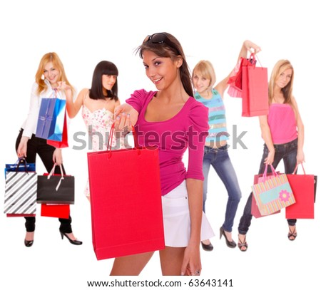 small group shopping girl isolated on white background