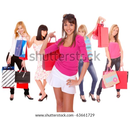 small group shopping girl isolated on white background - stock photo