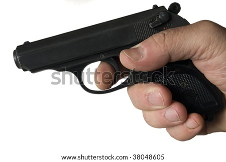 small gun pistol in big hand isolated in white