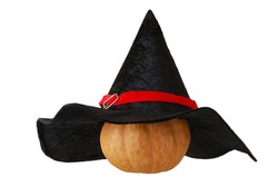 Small Halloween orange pumpkin in black witch hat isolated on white background