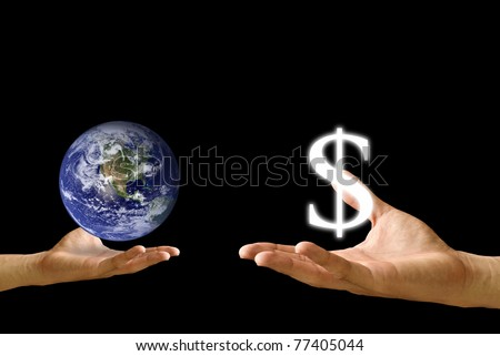 Small hand exchange the world with Dollar icon