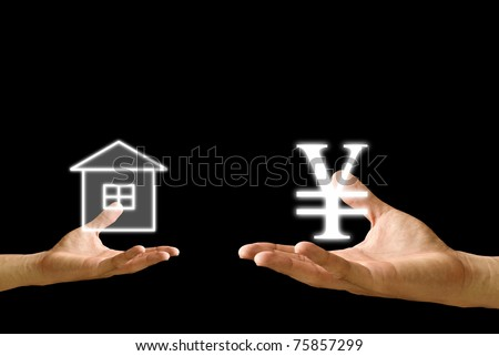 Small hand exchange with big hand, House icon and Yen icon