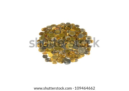 Small handful of beautiful different coins a white background