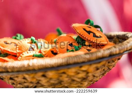 Small handmade Halloween craft on sale at local market.