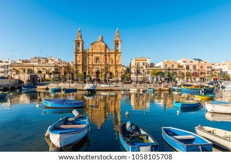 Small harbor and baroque church in Sliema, on the island of Malta Stock fotó ©
