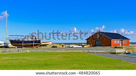 Small Harbor with some boats in Soru, deepest and narrowest area in the Soela Strait. Soru, Hiiumaa, Estonia Stok fotoğraf ©