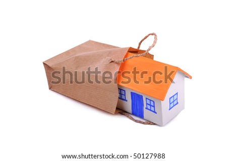 Small hause in the bag from paper