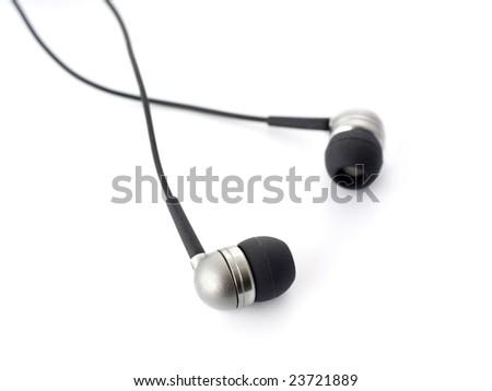 Stock Photo Small headphones isolated on white.