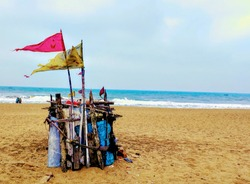 Small Hindu temple at puri beach orissa india