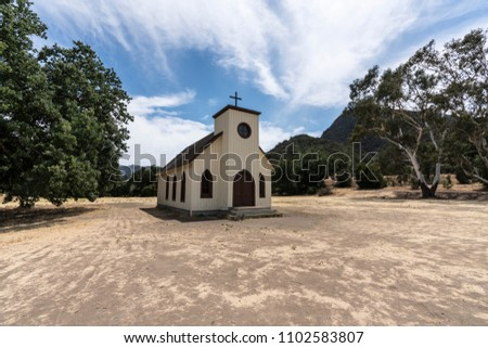 Small historic movie set church owned by US National Park Service at Paramount Ranch in the Santa Monica Mountains National Recreation Area near Los Angeles California.