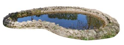 Small home-made pond with a coast made of granite stones and cobblestones. Isolated on white