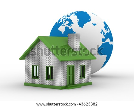 Small house and globe on  white background. Isolated 3D image