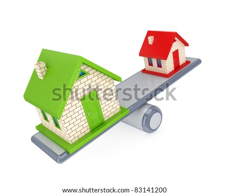 Small house and large house on a simple scales. 3d rendered. Isolated on white background.