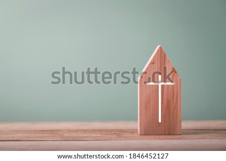 Small house church for catholics , community of Christ , Concept of hope, christianity, faith, religion and church online.