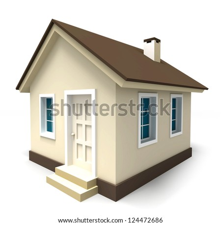 small house in brown colours on white background. clipping path included