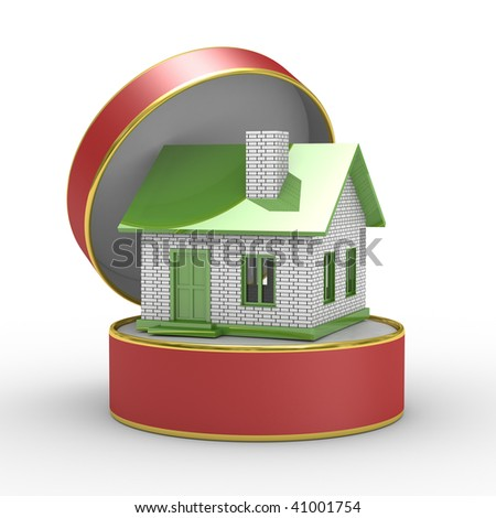 Small house in gift box. Isolated 3D image