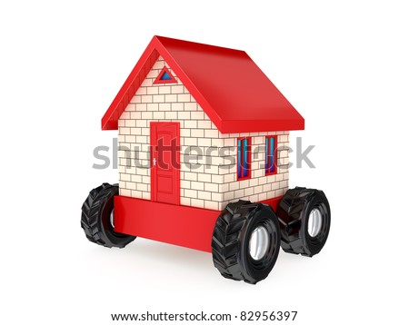 Small house on a big black wheels. 3D rendered. Isolated on white background.