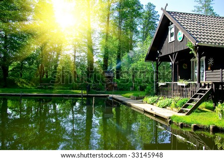 Small house on lake