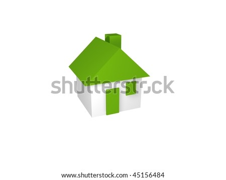 Small house on white background. Isolated 3D image - stock photo