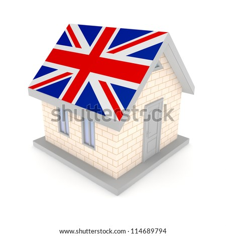 Small house with a flag of on a roof.Isolated on white background.3d rendered.