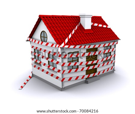 small house with red roof enmeshed warning tape