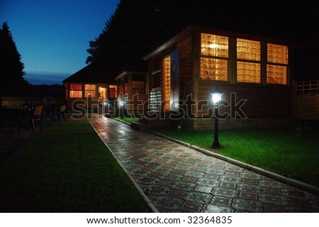 Small houses at night - stock photo