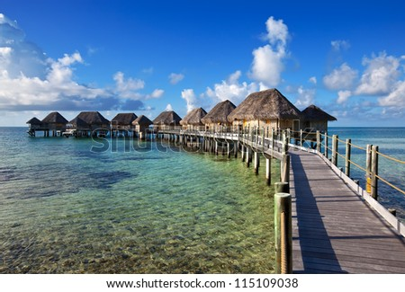 small houses over the sea - stock photo