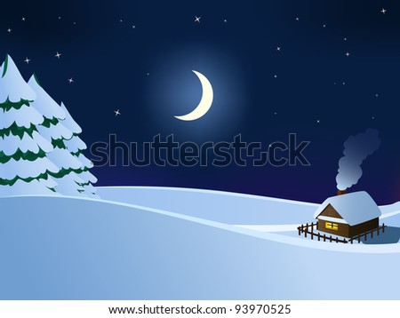 Small hut wooden house in christmas winter night with moon and stars. Vector available.