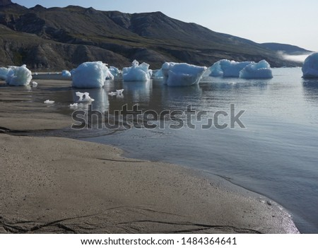 Small icebergs stranded on a beach at low tide in western Greenland