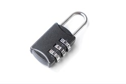 small iron lock with a coded set, the concept of closedness, secrecy, cipher, encoding, isolated on a white background