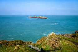 Small island and seascape in Saint-Malo, brittany, France