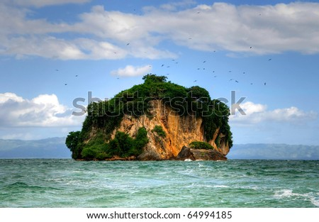 Small island, Dominican republic - stock photo