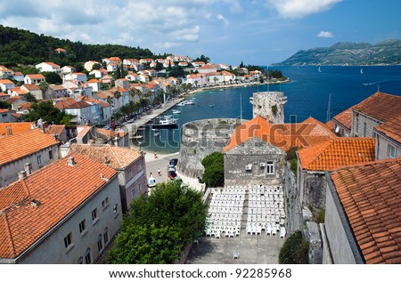 Small Island town Korcula in Croatia