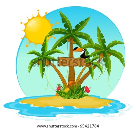 Small Island with tropical palms